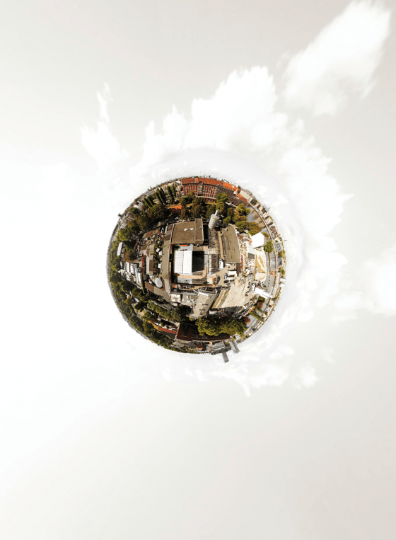 Little Planet aus 360° Luftbild Panoramen